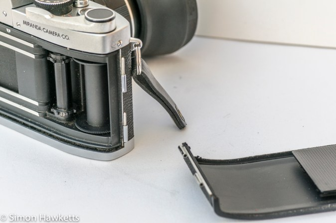 Miranda G 35mm slr camera showing film chamber door removed