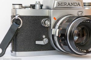 Miranda G 35mm slr camera showing self timer lever