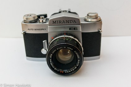 Front view of the Miranda Sensorex EE 35mm camera with lens and viewfinder fitted