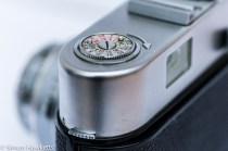 Voigtlander Vito B viewfinder camera showing film rewind pressed down