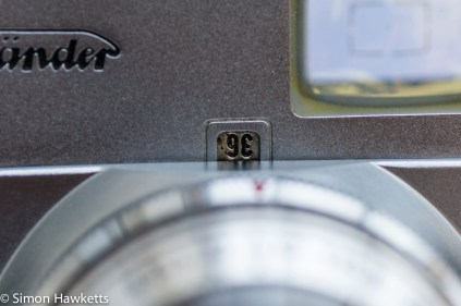 Voigtlander Vito B viewfinder camera showing the frame counter
