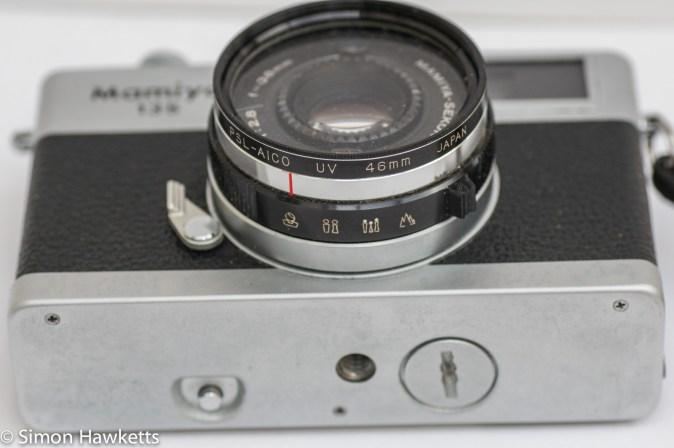 Mamiya 135 EE 35mm rangefinder camera showing self timer and battery compartment