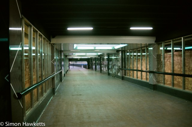 Nikon F80 sample photographs - The underpass to the station (low light)