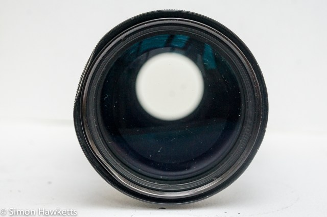 Pentax-M SMC 80-200mm f/4.5 zoom lens showing slight damage to the lens hood