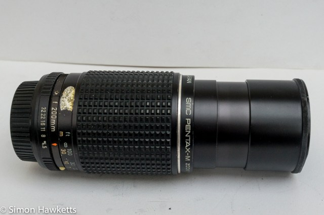 Pentax-M SMC 80-200mm f/4.5 zoom lens with lens hood extended