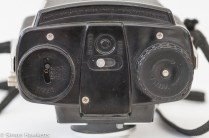 Kodak Brownie Twin 20 roll film camera showing the bottom of the camera with lock