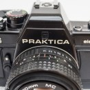 Praktica BMS 35mm SLR showing small viewing window in prism housing