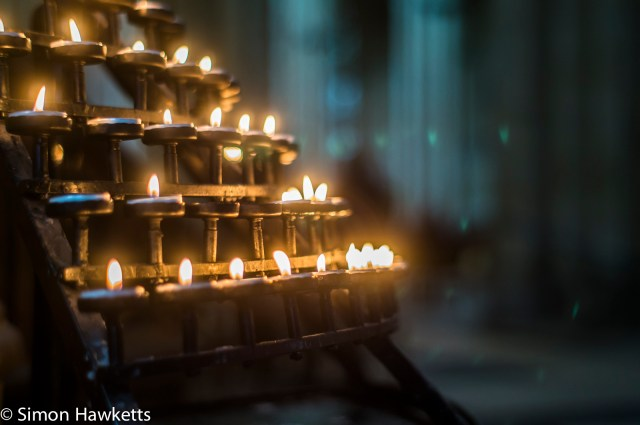 Candles burning in York Minster