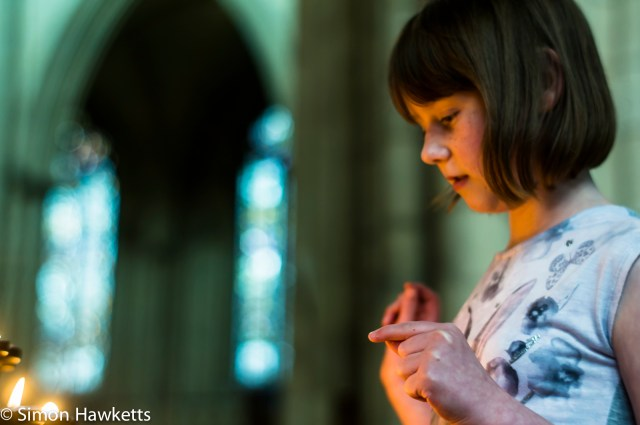 Emma watching the candle in York Minster