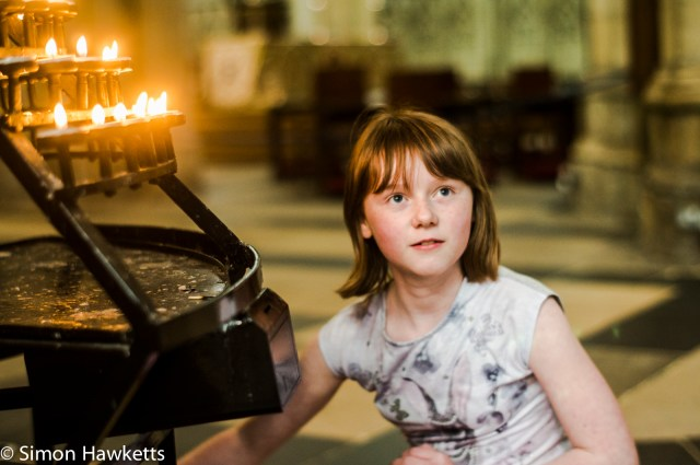 Girl finding a candle to light