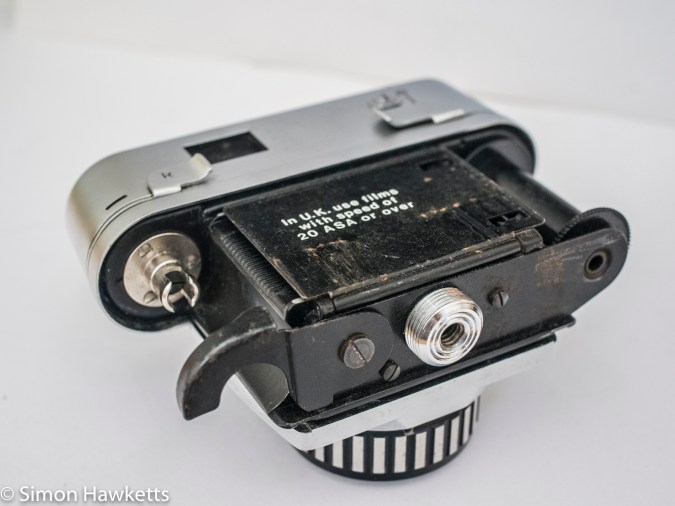 Braun Paxette Electromatic - camera opened to load film