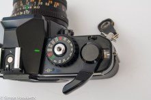 Chinon CE-4 - film advance, shutter speed and multiple exposure lever