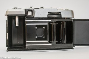 Olympus Pen EE-2 half frame 35mm camera showing film chamber