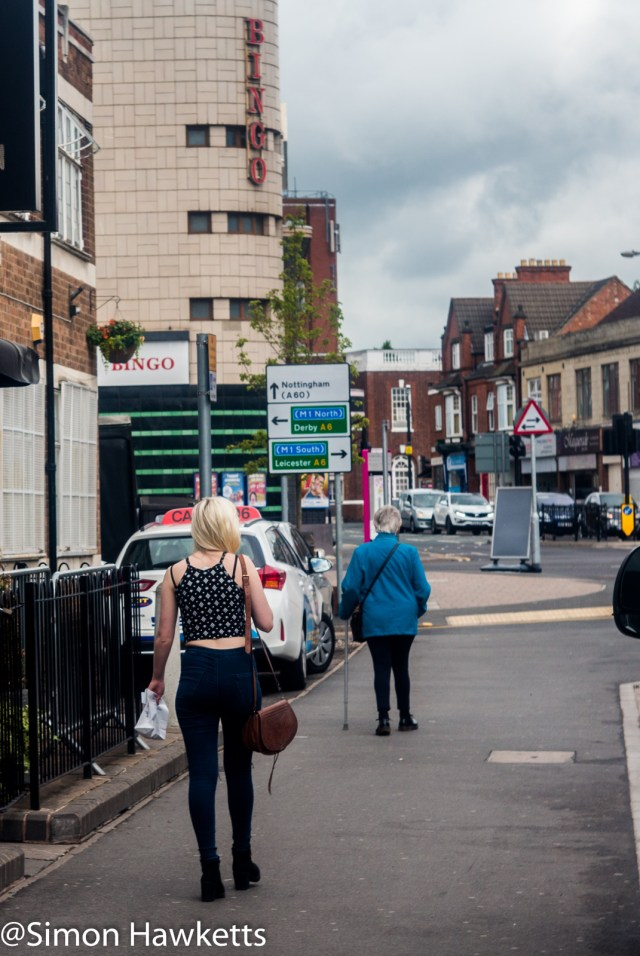 Steinheil Munchen Cassar S sample pictures - A girl walking down a street in Loughborough