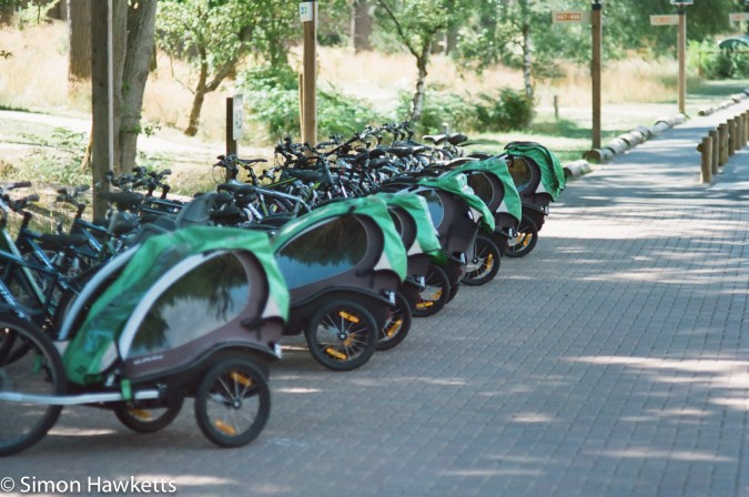 Miranda Sensorex EE slr with Kodak Gold 400 sample picture - Bikes lined up at Woburn forest CenterParcs