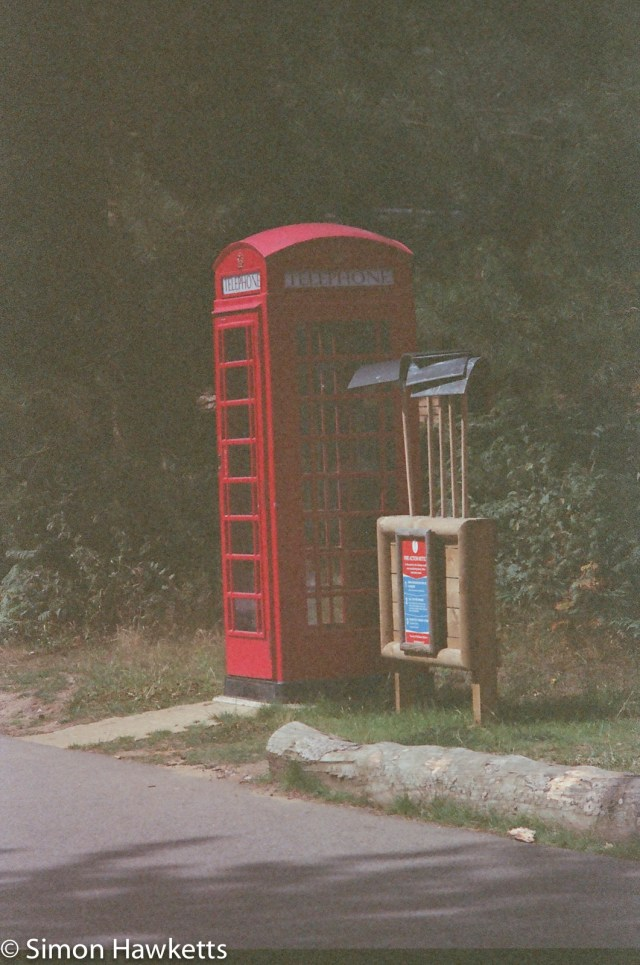 Miranda Sensorex EE slr with Kodak Gold 400 sample picture - Phone box in the forest at Woburn forest CenterParcs