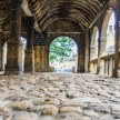 Cobbled floor of the Market Hall in Chipping Campden High Street