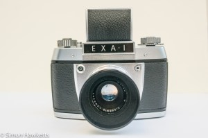 Exakta EXA 1 35mm SLR showing waist finder open from the front