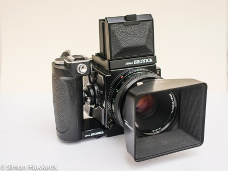 Bronica ETRsi with WLF, grip and 75mm lens