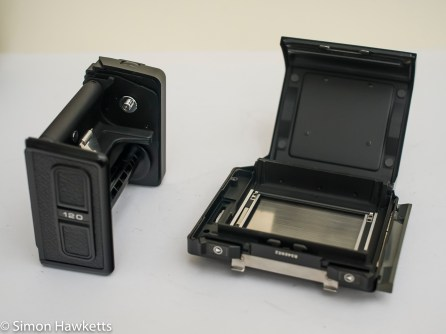 Bronica ETRsi film back ready to load