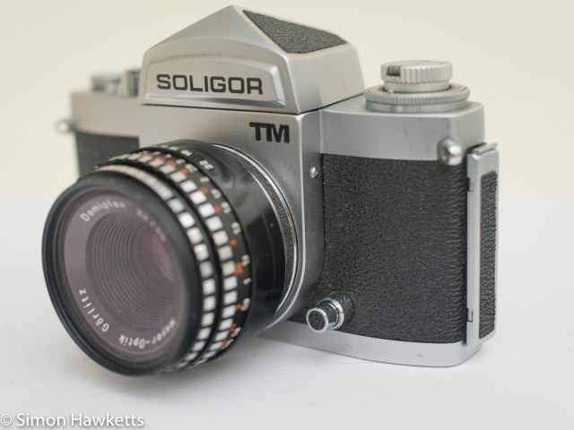 Soligor TM 35mm slr camera showing metering button and right side view