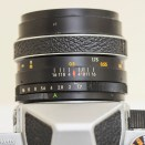 Chinon CX 35mm slr showing lens aperture and focus scales