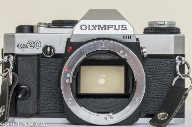 Olympus OM-20 35mm SLR - Front view showing lens mount with lens removed