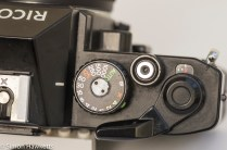 Ricoh KR-10 35mm SLR showing shutter speed, shutter release and film advance