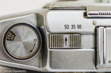 Agfa Ambi Silette 35mm rangefinder camera - Rewind crank and focal length switch