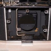 Agfa Ambi Silette shutter repair - camera body with lens unit removed from front of camera