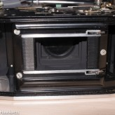 Agfa Ambi Silette shutter repair - film chamber with bolts revealed