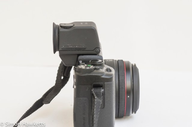 Ricoh GXR viewfinder vf-2 - viewfinder fitted to GXR side view