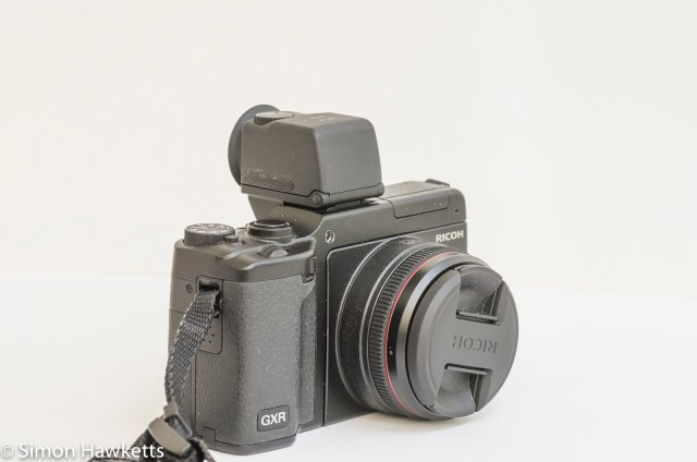 Ricoh GXR viewfinder vf-2 - viewfinder fitted to GXR with 28mm lens unit front view