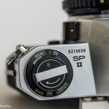 Pentax Spotmatic SPII 35mm slr camera - Film type reminder and flash sync switch