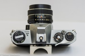 Pentax Spotmatic SPII 35mm slr camera - top view