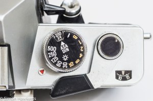 Praktica Super TL3 35mm single lens reflex camera top view showing shutter speed dial