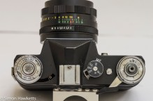 Top view of the Zenit E 35mm camera showing controls