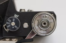 The Shutter speed dial and film advance on the Zenit E