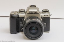 Front view of Pentax MZ-3 with normally supplied 28-80 f/4 kit lens