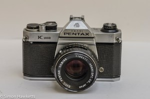 Front view of the Pentax K1000 35mm camera