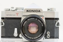 Konica Autoreflex T2 35mm slr front view with lens fitted