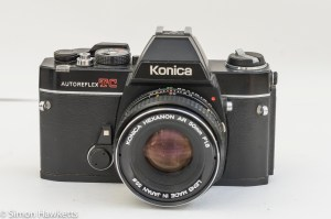 Konica Autoreflex TC front view with Hexanon AR 50mm f/1.8 lens fitted