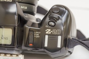 Main camera controls of the Pentax Z-20