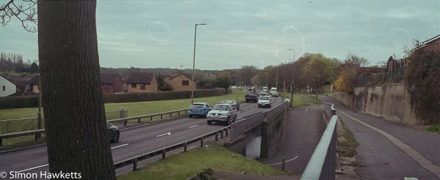 Pentax MZ-3 sample photographs - Panorama of traffic on the Hertford road with nasty drying marks