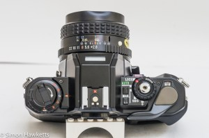 Pentax Program A 35mm slr camera showing top control layout