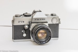 Petri FTII 35mm slr front view with lens fitted