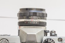 Petri FTII lens showing aperture scale and focus ring