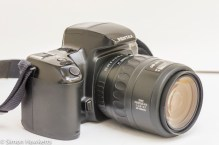 Side view of Pentax Z-20 showing lens release