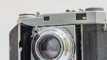 Kodak Retina IIa 35mm rangefinder camera front view with the lens exposed