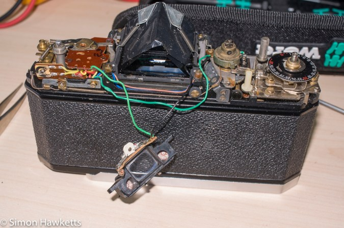 Konica Autoreflex T2 top cover removal - viewfinder removed